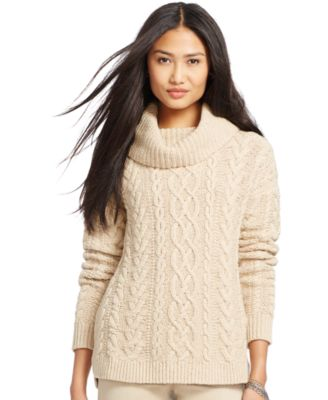 Lauren Ralph Lauren Cable-Knit Cowl-Neck Sweater - Sweaters ...