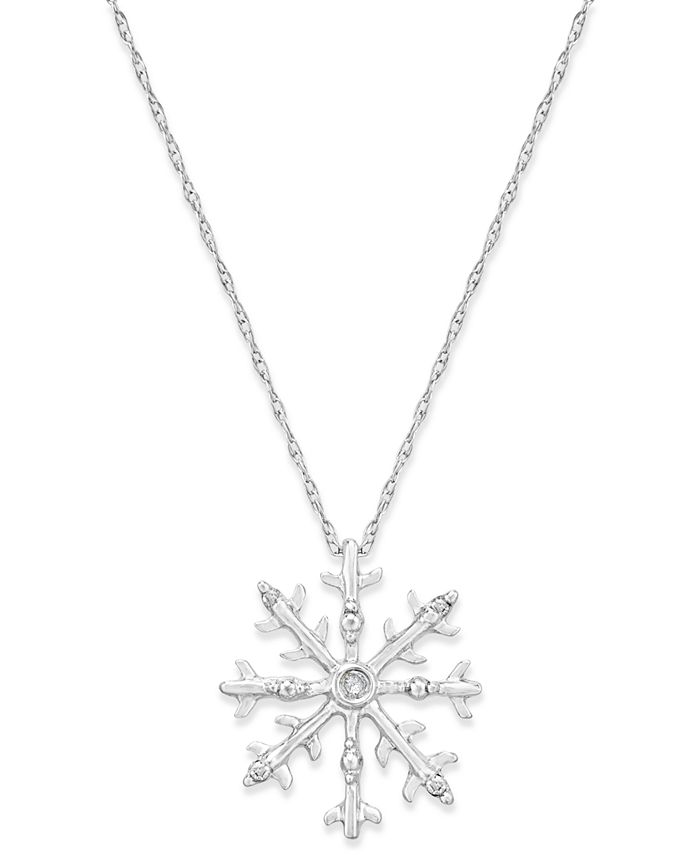 Macy's - Diamond Accent Snowflake Pendant Necklace in 10k White Gold