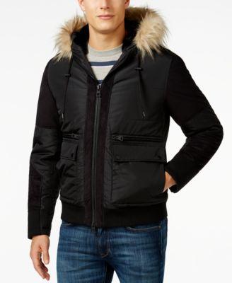Mens fur hooded puffer jacket