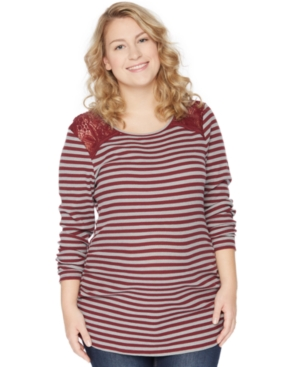 Motherhood Maternity Plus Size Lace-Shoulder Striped Top plus size,  plus size fashion plus size appare