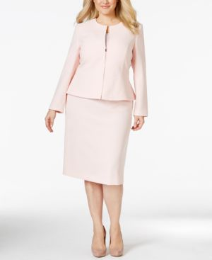 Tahari Asl Plus Size Zip-Front Peplum Skirt Suit