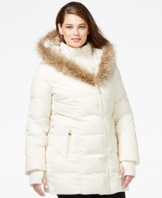 betsey johnson plus size faux-fur-trim quilted puffer coat - coats