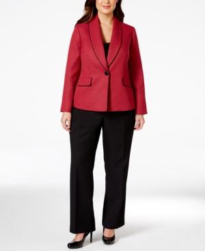 Le Suit Plus Size Colorblocked Jacquard Pantsuit