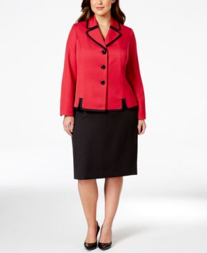Le Suit Plus Size Contrast Trim Skirt Suit