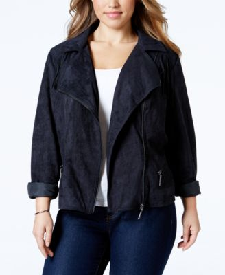 Plus size black suede jacket