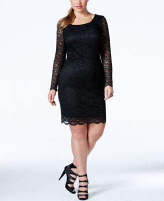 Trixxi Plus Size Long-Sleeve Lace Bodycon Dress - Dresses - Plus ...