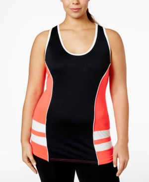 Jessica Simpson The Warm Up Plus Size Colorblocked Racerback Tank Top, Only at Macy's