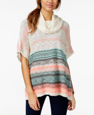 Eyeshadow Juniors' Striped Cowl-Neck Sweater Poncho - Sweaters ...