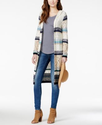 American Rag Mixed-Knit Hooded Duster Sweater, Only at Macy's ...
