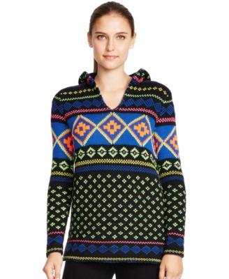Lauren Ralph Lauren Fair Isle Pom-Pom Hoodie Sweater - Sweaters ...