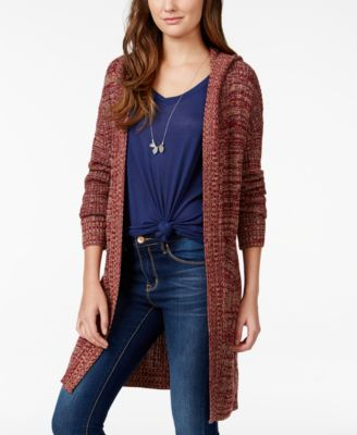 Eyeshadow Juniors' Striped Long Cardigan Sweater - Sweaters ...
