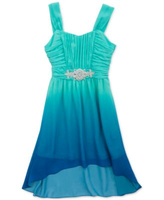 Rare Editions Champagne Lace & Glitter High-Low Hem Dress - Kids ...
