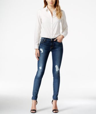 7 For All Mankind Gwenevere Destroyed Skinny Dark Blue Wash Jeans ...
