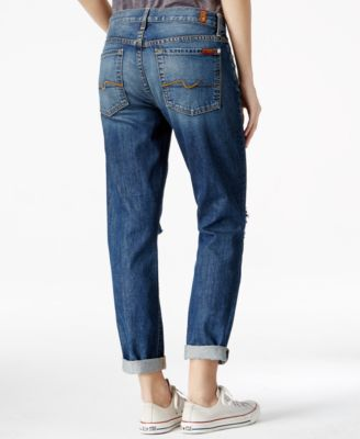 7 For All Mankind Josefina Ripped Boyfriend Heritage Wash Jeans ...