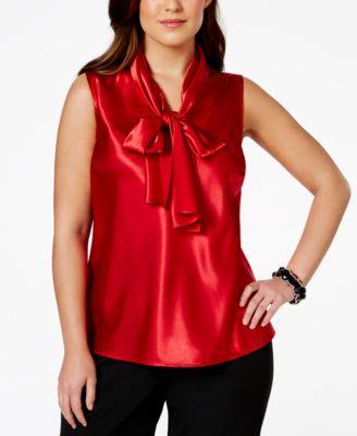 nine west plus size bow tie satin blouse - tops - women - macy's