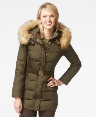 Jones New York Faux-Fur-Hood Down Belted Jacket - Coats - Women
