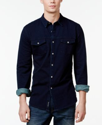 DKNY Jeans Knit Denim Button-Down Shirt - Casual Button-Down ...