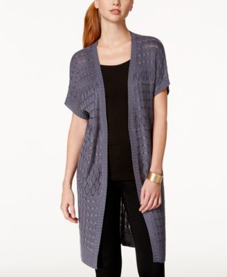 NY Collection Open-Knit Duster Cardigan - Sweaters - Women - Macy's