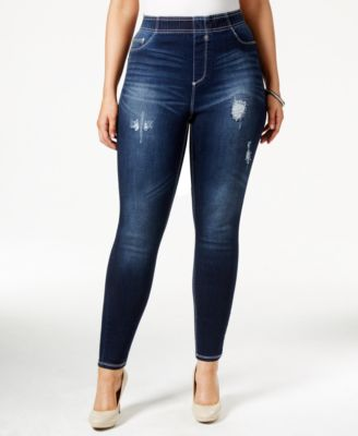 Rocks & Indigo Plus Size Pull-On Ripped Dark Blue Wash Skinny ...