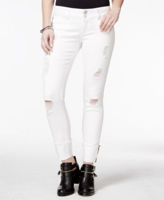 Indigo Rein Juniors' Ripped Cuffed Colored Skinny Jeans - Jeans ...