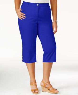 Karen Scott Plus Size Polka Dot Printed Capri Pants, Only at ...