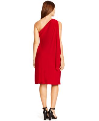lauren ralph lauren plus size one-shoulder draped dress - dresses