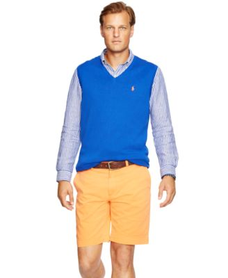 Polo Ralph Lauren Big & Tall Pima V-Neck Vest - Sweaters - Men ...