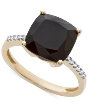 Onyx (1-1/6 ct. t.w.) and Diamond Accent Ring in 14k Gold thumbnail
