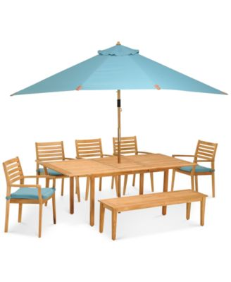 Anders Teak Outdoor 7 Pc. Dining Set (1 Table, 5 Chairs U0026