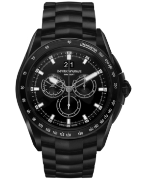 Emporio Armani Men's Swiss Chronograph Sport Black Ion-Plated Stainless Steel Bracelet Watch 44mm ARS9105