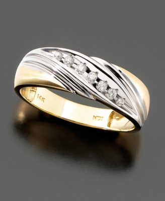 Men's 14k Two-tone Gold Diamond Band (1/10 ct. tw.) - Diamond Ring