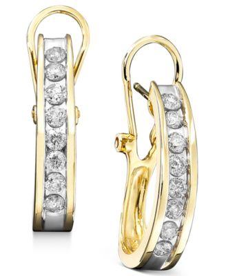 Diamond Hoop Earrings In 10k Gold 3 8 Ct T W