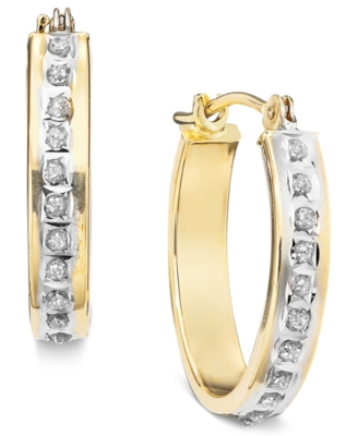 14k Gold Diamond Accent Hoop Earrings