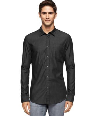 Calvin Klein Jeans Black Denim Shirt - Casual Button-Down Shirts ...
