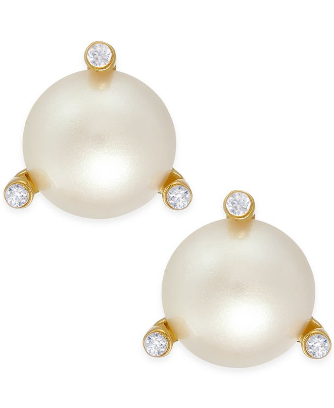 kate spade new york  Gold-Tone Imitation Pearl and Crystal Stud Earrings