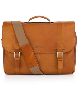 "Kenneth Cole Reaction ""Columbia"" Leather Double Gusset Flapover Portfolio/Computer Case"