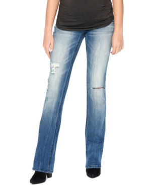 Wallflower Distressed Bootcut Maternity Jean Medium Wash plus size,  plus size fashion plus size appare