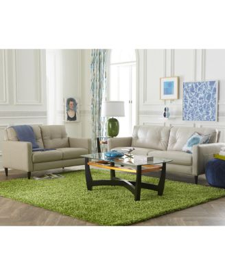 Keaton Top Grain Leather Loveseat Furniture Macy's