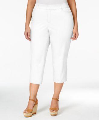 Charter Club Plus Size Diamond Jacquard-Print Capri Pants, Only at ...