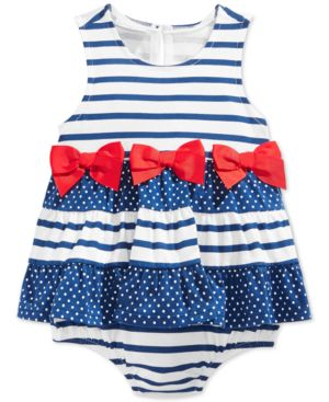 First Impressions Baby Girls' Stripe & Dot Sunsuit, Only at Macy's