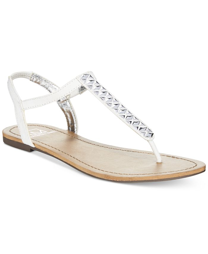 Material Girl - Sage T-Strap Flat Thong Sandals
