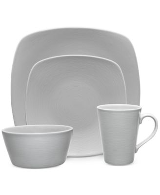 Noritake Gray On Gray Swirl Porcelain 4-Pc. Square Place Setting