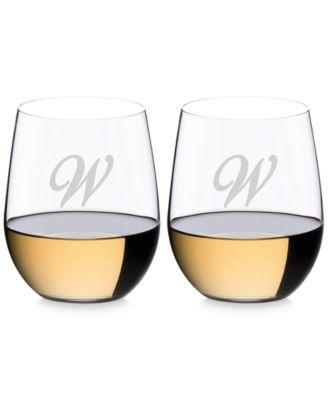 O Monogram Collection 2-Pc. Script Letter Chardonnay Stemless Wine Glasses