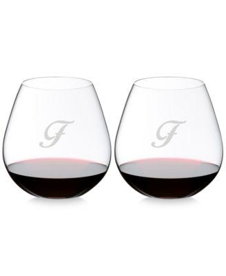 O Monogram Collection 2-Pc. Script Letter Pinot Noir Stemless Wine Glasses