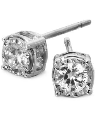 Trumiracle Diamond Stud Earrings In 14k White Gold 1 Ct T W