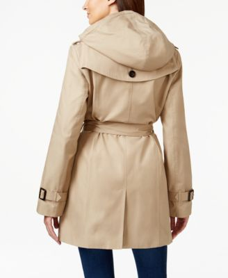 MICHAEL Michael Kors Petite Hooded Belted Double-Breasted Trench ...