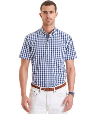 Nautica Gingham Short-Sleeve Button-Down Shirt - Casual Button ...