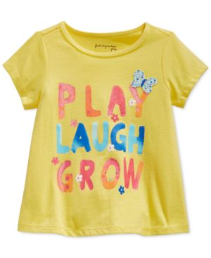 First Impressions Baby Girls' Short-Sleeve Play Laugh Grow T-Shirt, Only at Macy's