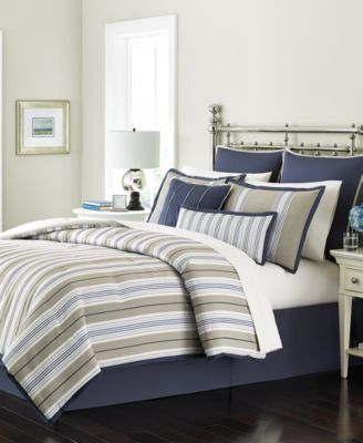 CLOSEOUT! Martha Stewart Collection Madison Stripe 6-Pc. Queen Comforter Set, Only at Macy's
