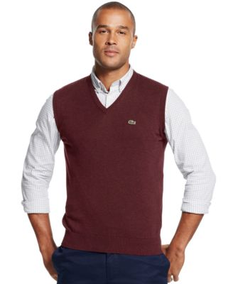 Lacoste Ribbed V-Neck Sweater Vest - Sweaters - Men - Macy's